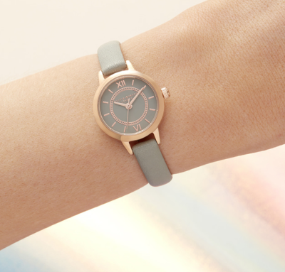 SISYPHUS Park Shin Hye Mini relógio cinza com mostrador absolutamente elegante