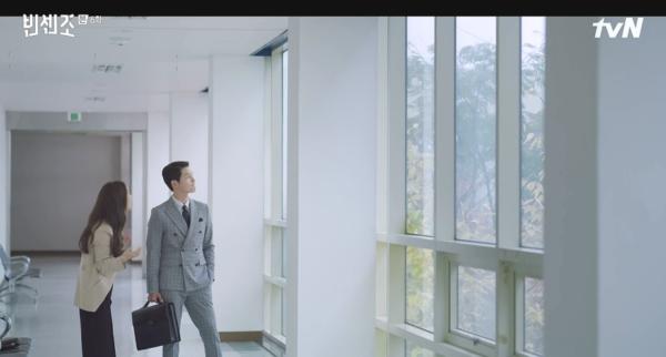 Vincenzo Song Joong Ki Gray terno slim fit definitivamente clássico