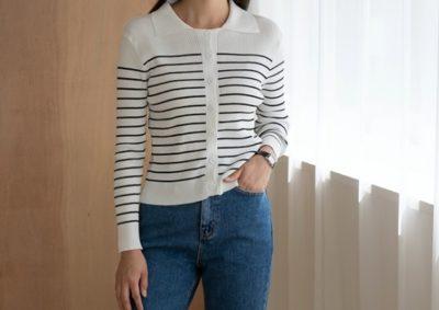 Le cardigan en tricot à col rayé Go Yoon Jung de la faculté de droit est super mignon