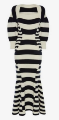 Mine Lee Bo Young Patchwork Stripe Knitted Dress is super stylish