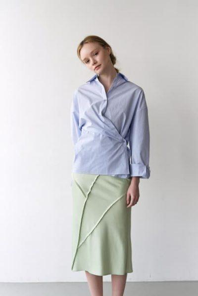 Hospital Playlist Jeon Mi Do Inner Tied Wrap blue Shirt Stripe is truly popular