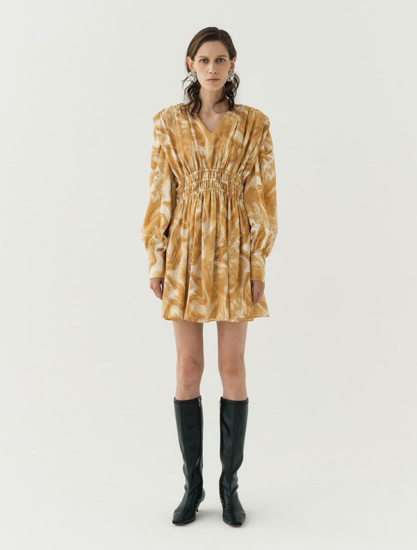 My Roommate Is A Gumiho Kang Han Na LONG-SLEEVED MINI DRESS WITH OIL-MARBLING PRINT is super elegant